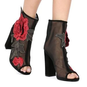 Liliana mesh embroidered booties 8.5